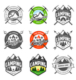 Set of vintage camping labels and badges vector | Price: 3 Credits (USD $3)