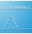 Silhouette of text and fir-tree on a light blue vector image