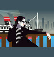 the fashionable woman with a cigarette vector image vector image