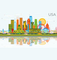 usa skyline with color skyscrapers landmarks and vector image vector image