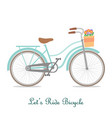 vintage bicycle with basket and text vector image vector image