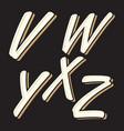 vintage letter vwxyz vector image