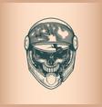 vintage racer skull monochrome hand drawn tattoo vector image vector image