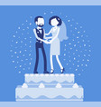 wedding rich iced cake with bride and groom on top vector image vector image