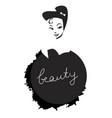 beauty inscription on black splash and girl vector image