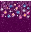 purple card with christmas balls vector image