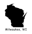 1303 milwaukee wi on wisconsin state map vector image vector image
