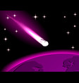 a bright comet of purple color a meteor flying vector image