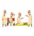arab muslim old man poses set elderly vector image vector image