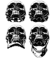 Black scary graphic human skull tattoo set vector image vector image