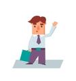 Business Man Raising Hand Cartoon Character vector image