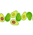 cartoon avocado seamless border vector image