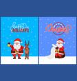 christmas greeting cards with santa claus and deer vector image vector image