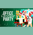 christmas party in office santa hats vector image vector image