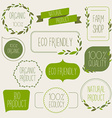 Collection of green labels and badges for organic