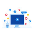 concept of video marketing live streaming vector image vector image