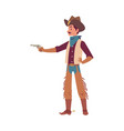 cowboy man pointing a gun - cartoon character in vector image vector image