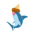cute shark character licking melted ice cream cone vector image vector image