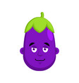 eggplant smiles emotion avatar purple vegetable vector image vector image