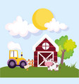 farm animals barn tractor cow and goose grass vector image