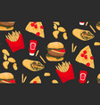fast food pizza french fries hamburger chips vector image