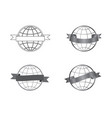 festive ribbons icons set around a globe vector image vector image