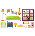 flat set of furniture and interior elements vector image vector image