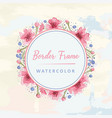 floral round border watercolor vector image