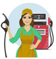 Gas station female worker holding petrol pump vector image vector image