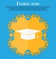 Graduation cap icon Floral flat design on a blue vector image