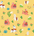 hand drawn seamless pattern with cute lama vector image