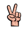Hand peace sign cartoon vector image
