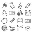 happy new year line icons set vector image