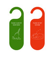 hotel door red and green hanger do not disturb vector image