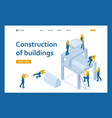 isometric team builders create a building vector image
