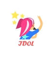 Japaneese Pop Idol Cartoon Style Icon vector image