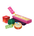 jewelery boxes with sale label vector image