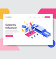 landing page template of celebrity influencer vector image vector image