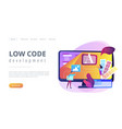 low code development concept landing page vector image vector image