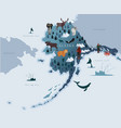 map alaska with animals eskimos forests vector image
