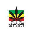 marijuana leaf on rastafarian flag vector image vector image