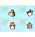 merry christmas happy new year greetings penguins vector image
