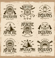 native american indians set of emblems vector image vector image