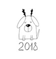 new year 2018 dog with a horns sketch image of vector image