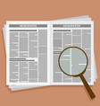 open newspaper with loupe vector image vector image