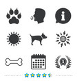 Pets icons cat paw with clutches sign