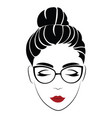 portrait a girl with glasses head a vector image vector image