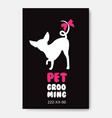poster template with dog silhouette on black vector image vector image