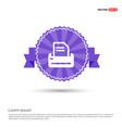 printer icon - purple ribbon banner vector image
