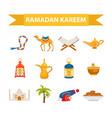 ramadan kareem flat icon set cartoon style vector image vector image